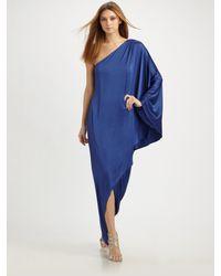 Halston - Blue Long One-shoulder Dress - Lyst