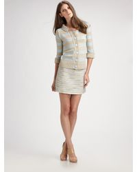 Marc Jacobs | White Mini Striped Tweed Skirt | Lyst