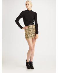 MILLY - Metallic Lace Mini Skirt - Lyst