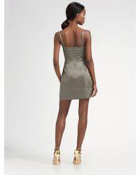 MILLY - Metallic Sateen Corset Dress - Lyst