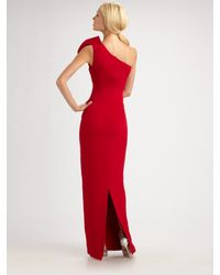 Notte by Marchesa | Red Draped Silk Crepe One Shoulder Gown | Lyst