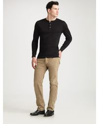 Ralph Lauren Black Label | Black Ribbed Henley Shirt for Men | Lyst