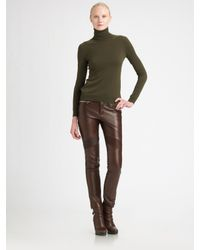 Ralph Lauren Black Label | Brown Leather Moto Pants | Lyst