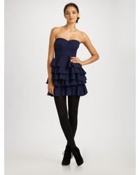 Rebecca Taylor | Blue Fit & Tiered Party Dress | Lyst