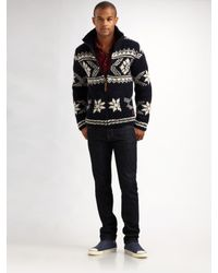 Scotch & Soda - Blue Hand-knit Snowflake Sweater for Men - Lyst