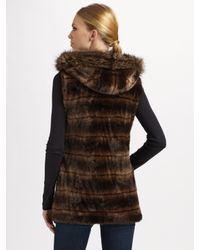 Sherry Cassin | Brown Faux Mink Hooded Vest | Lyst