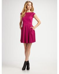 Shoshanna | Purple Boatneck Cap Sleeve Party Dress | Lyst