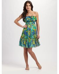 Shoshanna | Multicolor Silk Ikat Ruffled Cover-up Dress | Lyst