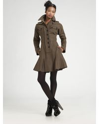 Sonia by Sonia Rykiel | Green Military Wool Flare Coat | Lyst