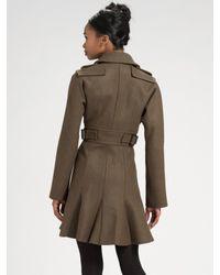 Sonia by Sonia Rykiel - Green Military Wool Flare Coat - Lyst