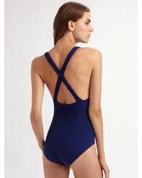 Spanx | Blue Woven-strap One-piece Swimsuit | Lyst