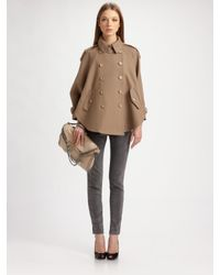 Stella McCartney | Gray Heavy Twill Capelette Trenchcoat | Lyst