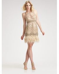 Sue Wong | Metallic Sequined Feather Hem Dress | Lyst