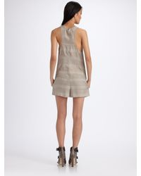 T By Alexander Wang - Gray Dobby Striped Romper - Lyst