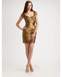 Tadashi Shoji | Green Cap Sleeve Bandage Dress | Lyst