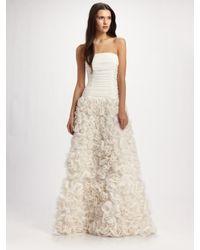 Tadashi Shoji | White Strapless Rosette Gown | Lyst