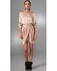 Thakoon Addition | Natural Draped Silk-satin Dress | Lyst