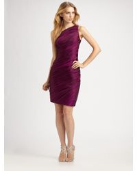 THEIA | Purple Pleated One Shoulder Dress | Lyst