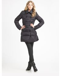 Theory - Black Double-breasted Puffer Coat - Lyst