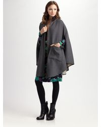 Tory Burch | Gray Leather-trimmed Wool Cape | Lyst
