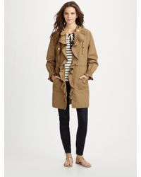 Tory Burch | Natural Ruffled Trench Coat | Lyst