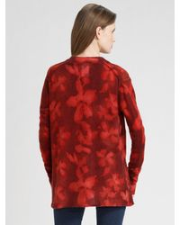 TSE - Red Cashmere Water Floral Cardigan - Lyst