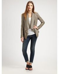 VINCE | Gray Draped Leather Jacket | Lyst