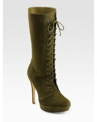 Alexandre Birman | Green Lace-up Suede Boots | Lyst