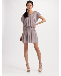 Alice + Olivia - Purple Blaire Gathered Blouson Dress - Lyst
