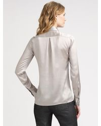 Armani | Metallic Silk Jacquard Tuxedo Shirt | Lyst