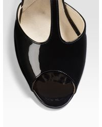 Brian Atwood - Black Erika Patent Leather T-strap Sandals - Lyst
