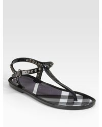 Burberry | Black Jelly Thong Sandals | Lyst