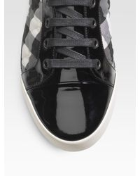 Burberry - Black Quilted Patent Sneakers - Lyst