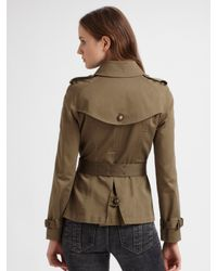 Burberry Brit | Green Cropped Trench Coat | Lyst