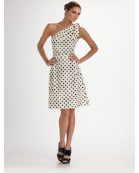 Carolina Herrera - White Polka Dot One Shoulder Dress - Lyst