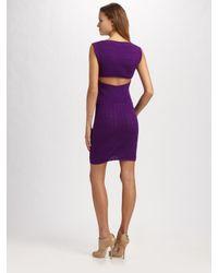 Catherine Malandrino - Purple Knit Cutout Dress - Lyst