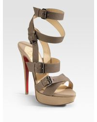 Christian Louboutin | Brown Toutenkaboucle Strappy Canvas Sandals | Lyst