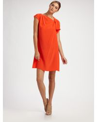 Derek Lam | Orange Draped Silk Asymmetrical Dress | Lyst