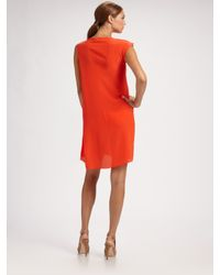 Derek Lam - Orange Draped Silk Asymmetrical Dress - Lyst