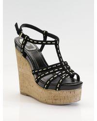 Dior | Black Antica Suede Cork Wedge Sandals | Lyst