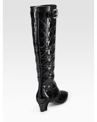 Dior - Black Cannage Patent Leather Boots - Lyst