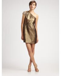 Elie Tahari | Metallic Lamé One-shoulder Dress | Lyst
