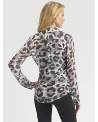 Equipment - Multicolor Animal-print Silk Chiffon Blouse - Lyst