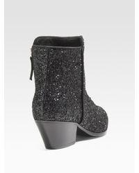 Giuseppe Zanotti - Black Glitter Ankle Boots - Lyst
