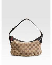 Gucci | Natural Plisse Original Logo Handle Mini Pouch | Lyst