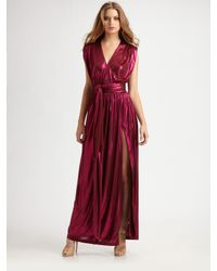 Halston | Purple Wrap Maxi Dress | Lyst
