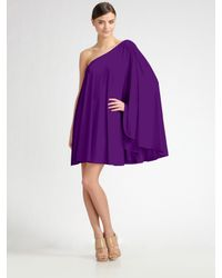 Halston | Purple Short One-shoulder Caftan | Lyst