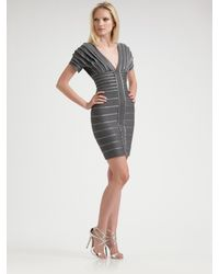 Hervé Léger | Gray Metallic Bandage Dress | Lyst