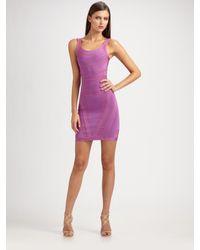 Hervé Léger - Purple Border Jacquard Bandage Dress - Lyst