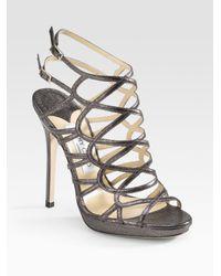 Jimmy Choo | Gray Zinc Glitter-printed Leather Platform Sandals | Lyst